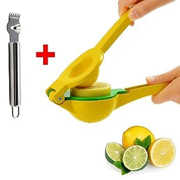 2 en 1 cocina adecuado para alimentos. Esmaltado Aluminio Exprimidor Manual exprimidor de limones,