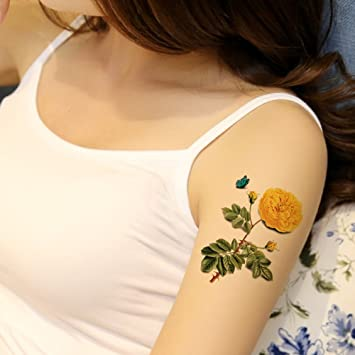 Amazon tafly sexy 3d waterproof tattoo yellow flower and tafly sexy 3d waterproof tattoo yellow flower and butterfly pattern chest waist arms back leg body mightylinksfo