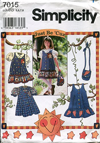 (Simplicity Just Be 'Cuz Pattern 7015 Girls' Jumper or Dress, Blouse and Purse, BB (5-6-7-8))