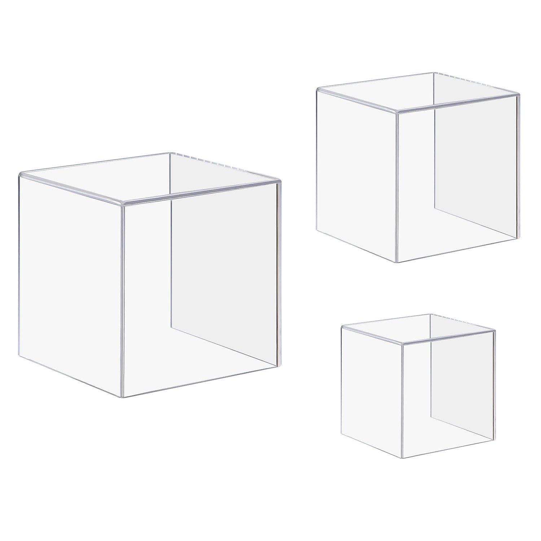 CRUODA Acrylic Display Case,3x3x3&4x4x4&5x5x5, 3pc, display box,4 Sided Acrylic Cube,Museum Box Case, Jewelry Book Showcase