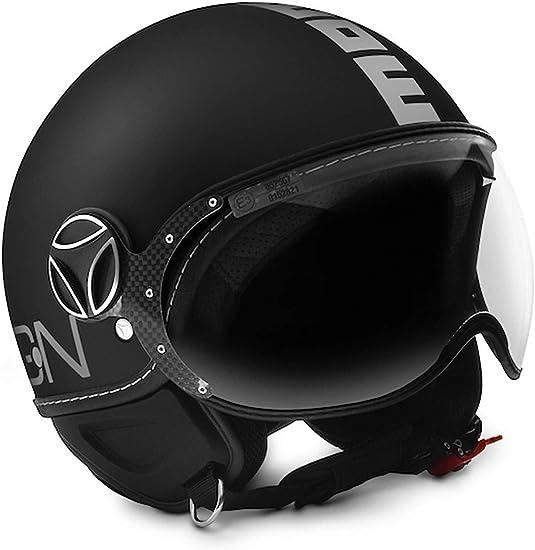 MoMo FGTR Classic Open Face Motorcycle Helmet in Black Matt with Logo Silver
