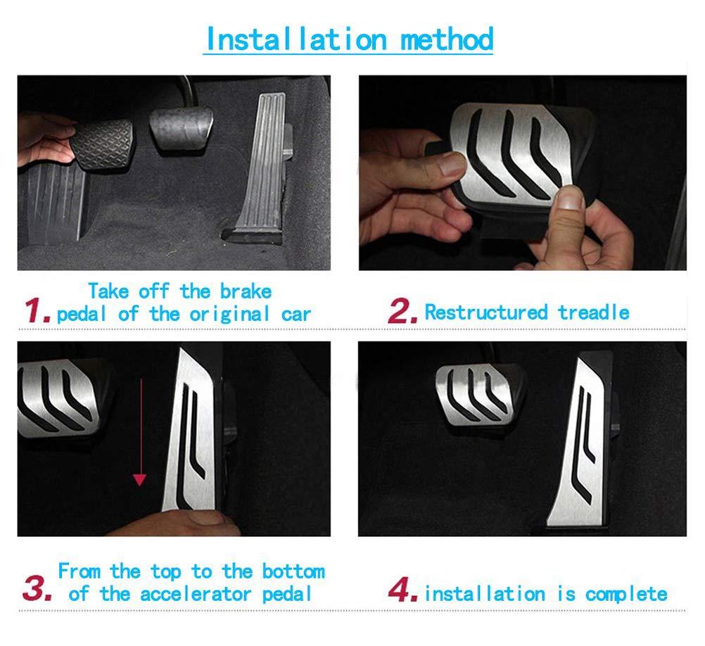 For Mazda 3 6 CX-5 2013 2014 2015 Car Non-Slip Performance Brake Pedal Cover Aluminum Alloy Rubber Anti-Slip Accelerator Foot Pedals 3Pcs