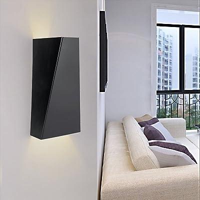 10W LED Applique murale Lampe murale intérieur géométrique Design Haut et Bas Éclairage Éclairage mural Blanc chaud Moderne noir