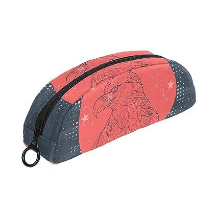 COOSUN American Eagle USA - Estuche para lápices de Navidad, semicircular, bolígrafo, bolso, estuche para maquillaje, neceser para mujeres y niñas: Amazon.es: Oficina y papelería