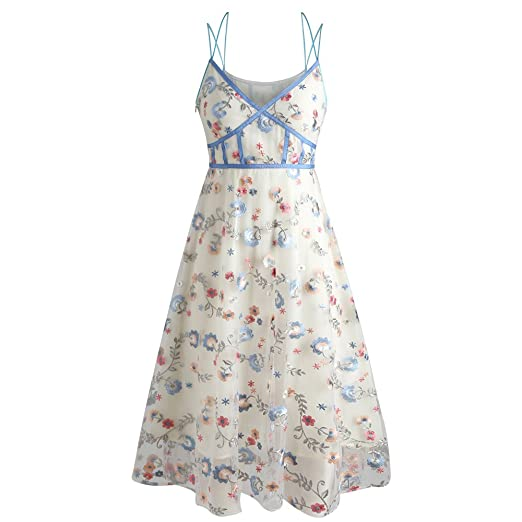 9fac5bf1c9 DEZZAL Women s Strappy Criss Cross Floral Embroidered Fit and Flare Midi  Dress (Warm White