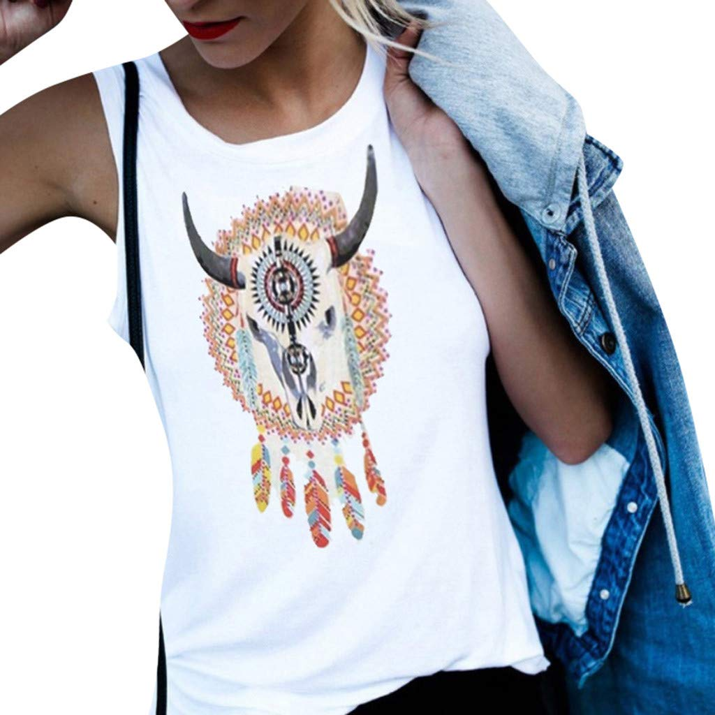 Willow S Women Fashion Sport Casual Sleeveless Vintage Print Shirt Loose Tank Soft Fitness T-Shirts Tops Blouse