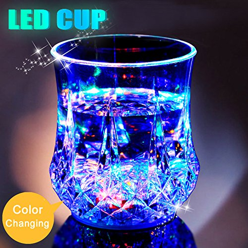 LED Light Up Cups 2win2buy Pineapple Shape Flashing Automatic Water Activated Color Changing Beer Cola Juice Wine Whisky Liquid Drinkware Cups for Bar Disco Night Club Party Halloween Christmas -
