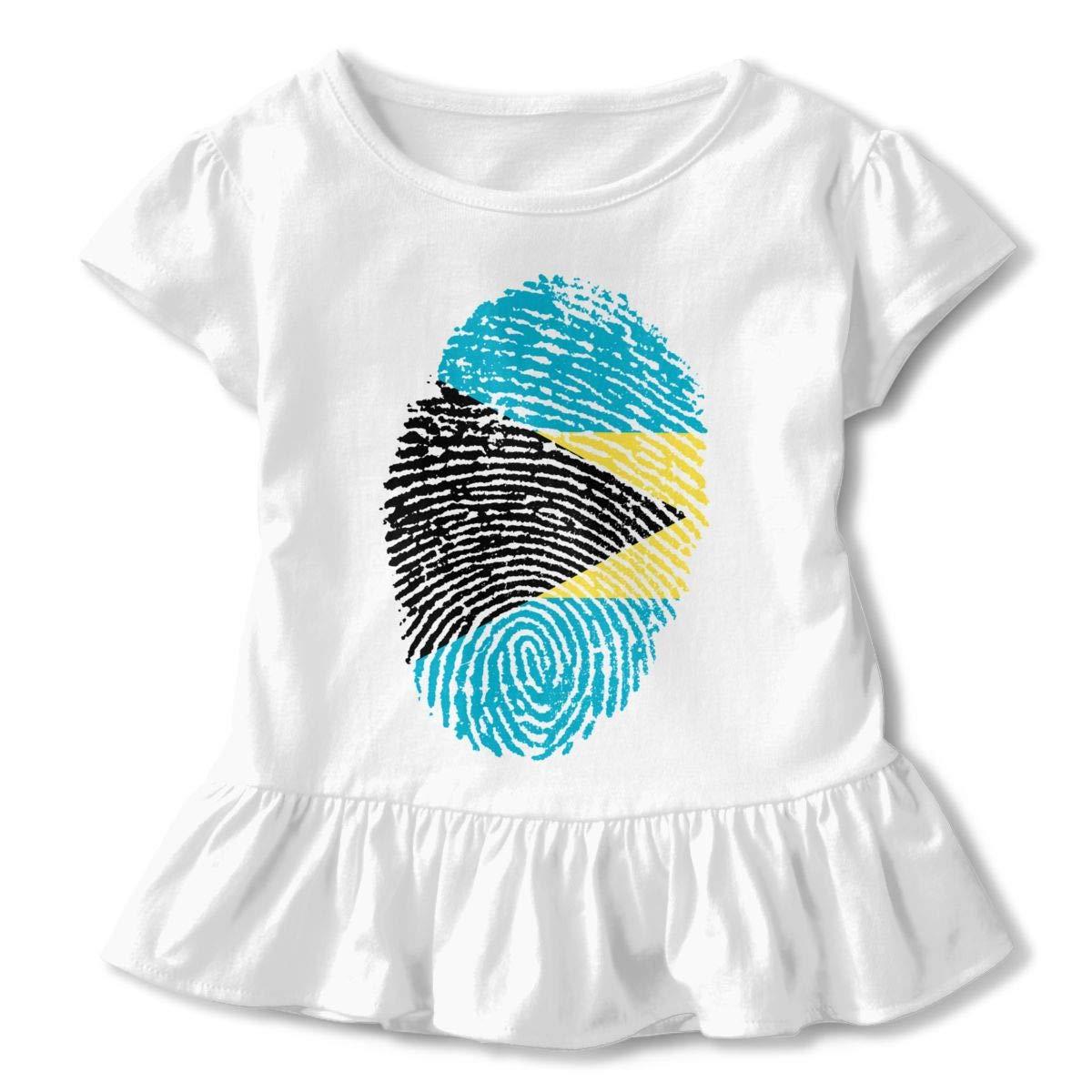JVNSS Bahamas Flag Fingerprint DNA Shirt Comfort Kids Flounced T Shirts Graphic T-Shirt for 2-6T Kids Girls