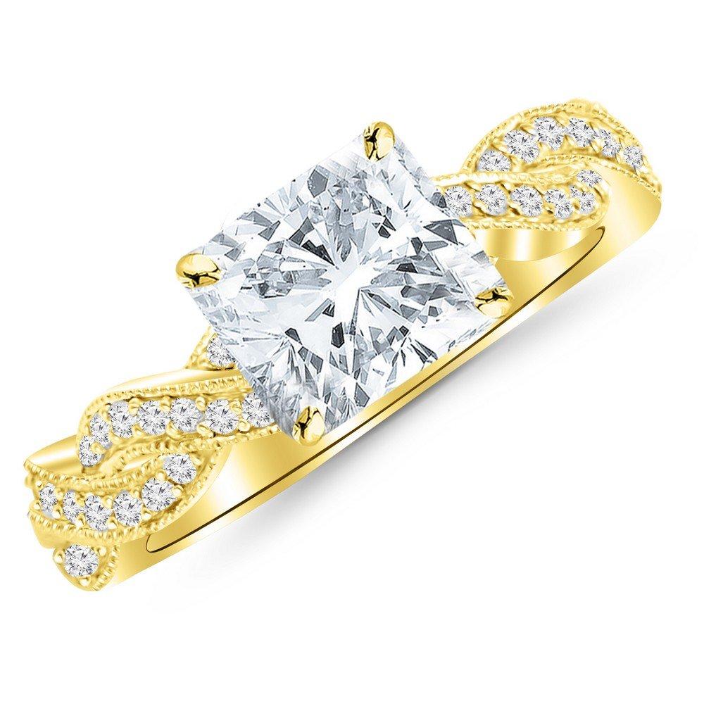 0.78 Cttw 14K Yellow Gold Cushion Cut Vintage Eternity Love Twisting Split Shank Diamond Engagement Ring With Milgrain with a 0.5 Carat D-E Color VS1-VS2 Clarity Center