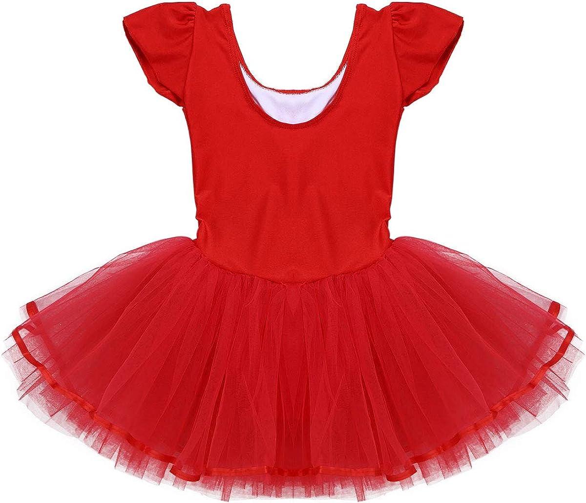 iiniim M/ädchen Ballettkleid Ballett Trikot Tanzkleid mit T/üllrock Ballerina Latin Tanzkleid Gymnastik Turnanzug Sport Ballettoutfits Gr.92-140