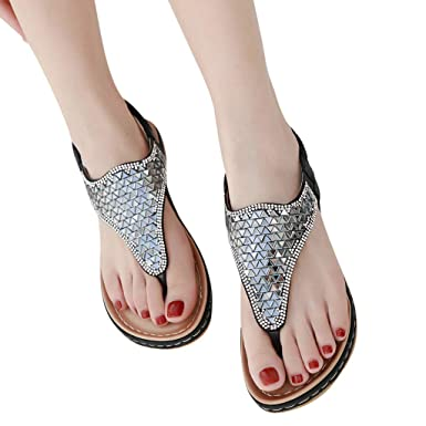 0a3082313788d3 Flip Flops Thong Shoes for Womens Summer Beach Flat Sandals Rhinestone  Shiny Beads Slip On Black