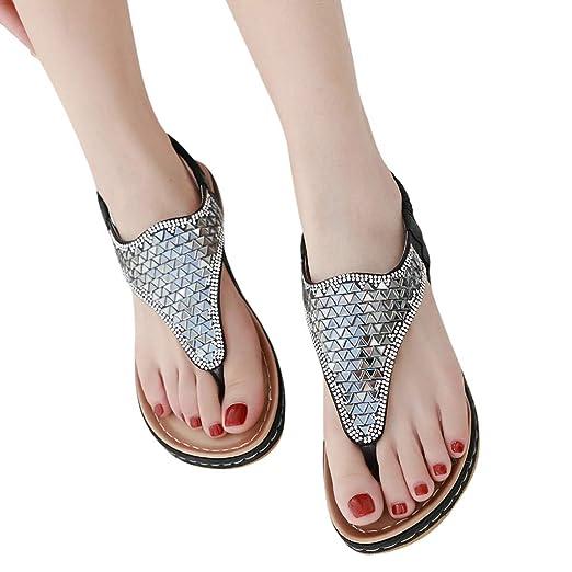 f2b04967139b Ljnuanrg Women s Summer Plus Size Comfortable Beach Shoes Ladies Clip Toe  Sandals Bohemian Rhinestones Flip Flops