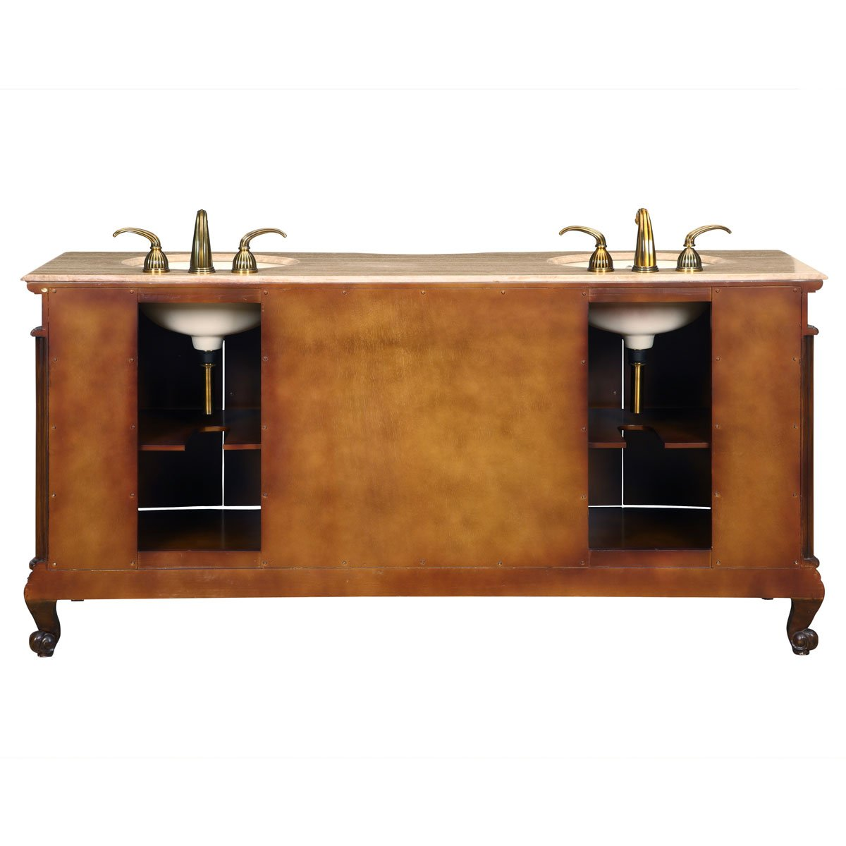Silkroad Exclusive Travertine Stone Top Double Sink Bathroom Vanity with Bath Cabinet, 72-Inch by Silkroad Exclusive (Image #4)