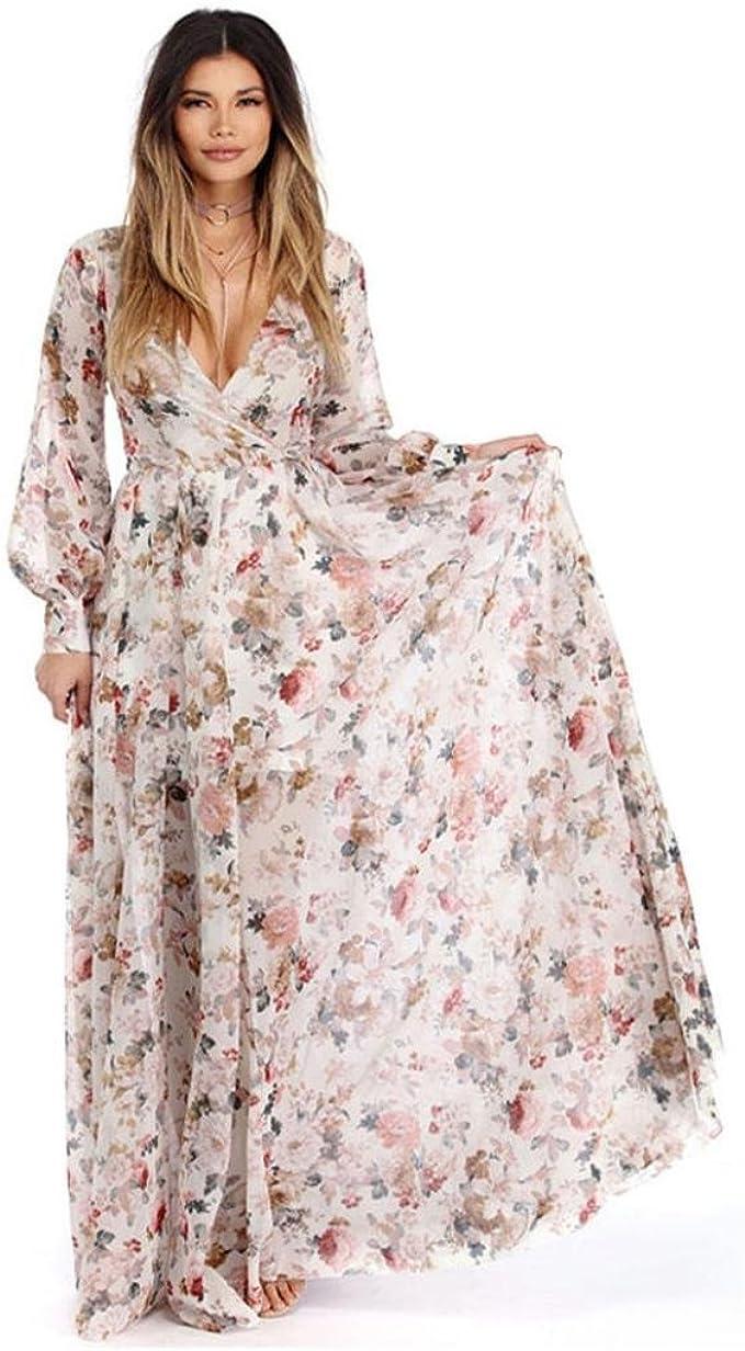 OVERDOSE Frauen V-Ausschnitt Chiffon Blumen langes Maxi Kleid Langarm Abend  Partei Strand Kleider