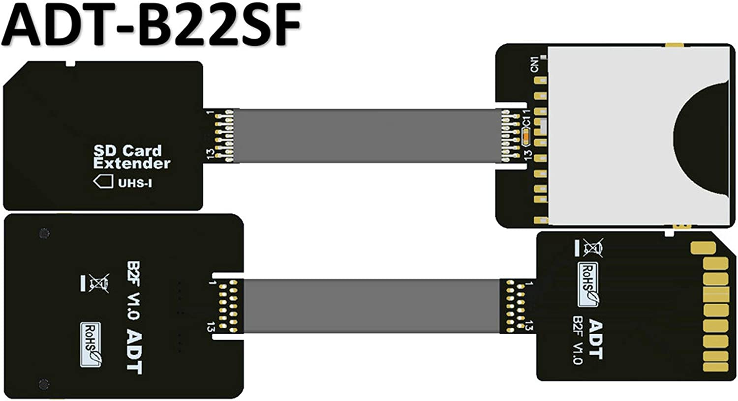 Flex Extender Cable TF to Micro SD TF Zip Extension Cable Memory Card Extender Cord Linker UHS-I high-Speed Transmission 10cm,B11SF