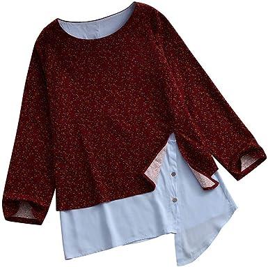 Reooly Camisa de Mujer de algodón y Lino con Cuello Redondo y Estampado Suelto de Manga Larga: Amazon.es: Ropa y accesorios