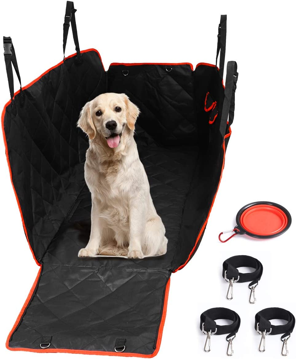 Fufeng Pet Car Seat Cover for Dogs Hammock with Dog Seat Belt and Pockets,Pet Dog Car Seat Cover Protector for Car Truck SUV Backseat,Oxford Non-Slip Waterproof Outdoor Dog Car Travel Accessories