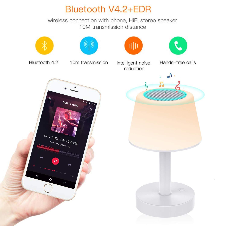 Lampe de Chevet LED avec Enceinte Bluetooth et Contrôle Tactile Lampe de Table Rechargeable avec Mains Libres, Luminosité Réglable et Couleurs de Changement pour Enfant, Bébé, Chambre, Jardin Tikitaka