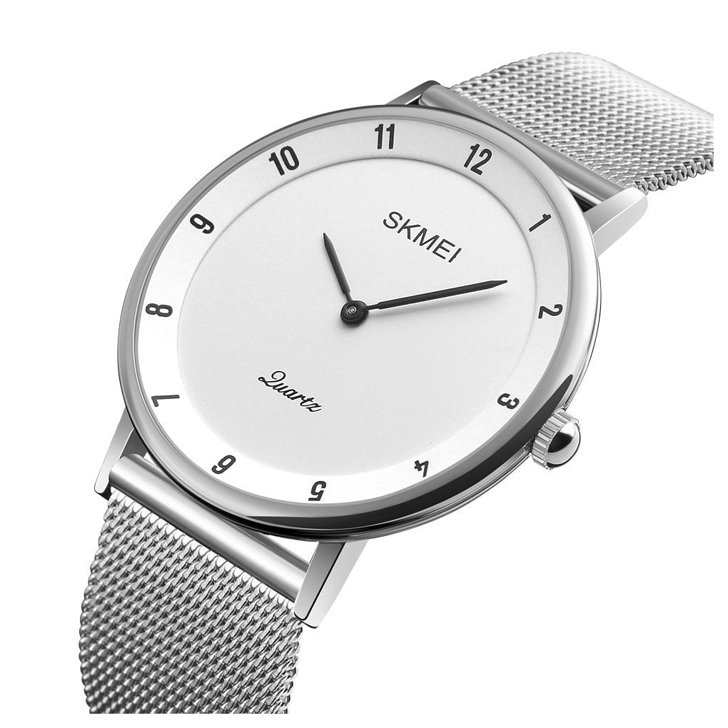Men's Simple Classic Analog Quartz Waterproof Wrist Watches Silver Stainless Steel Ultra thin Case Watch (white) by Fanmis