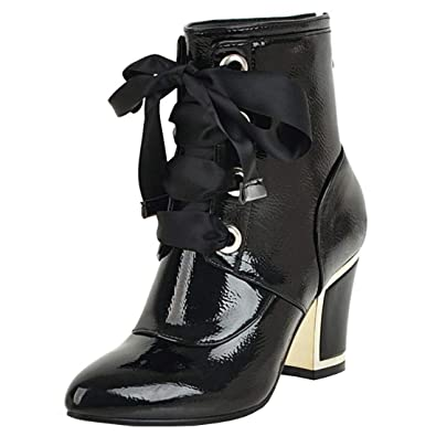 9b398bd154 Vitalo Womens Lace Up Chunky High Heel Ankle Boots Zip Patent Leather  Booties Size 4 B