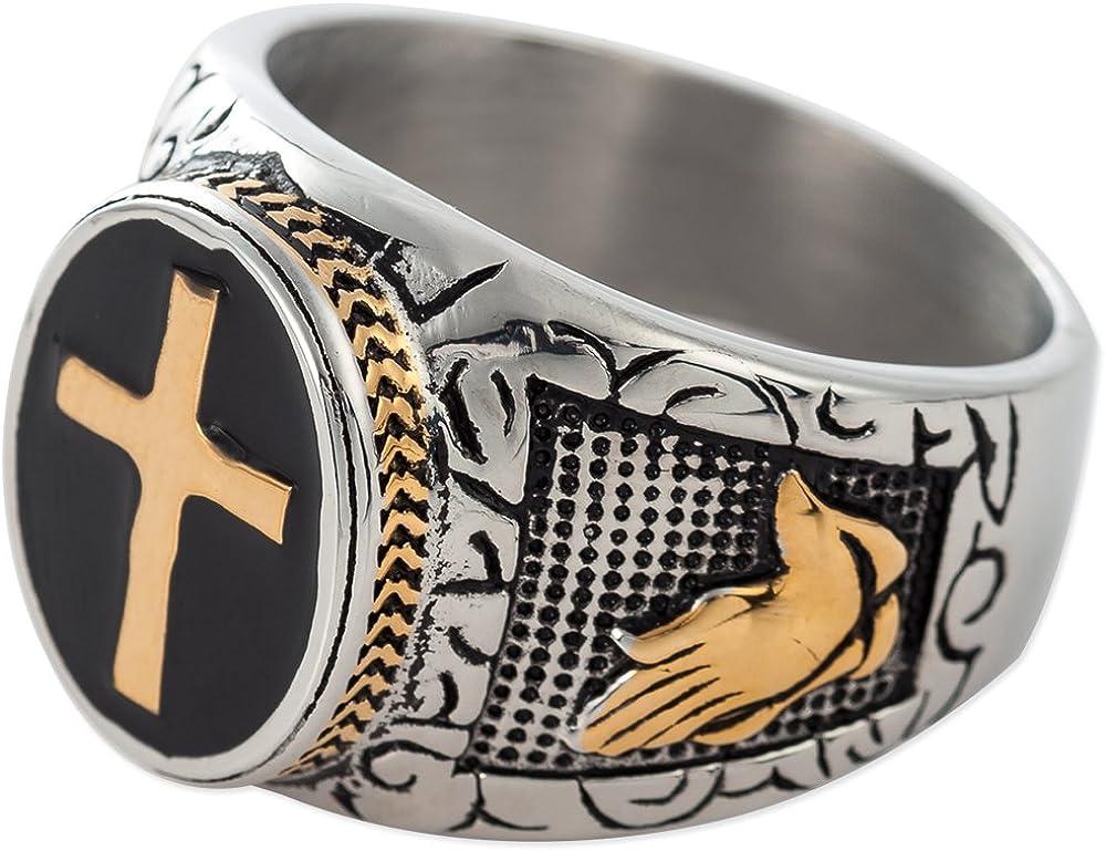 Jude Jewelers Christian Holy Cross Prayer Ring Stainless Steel Black Enamel Religious