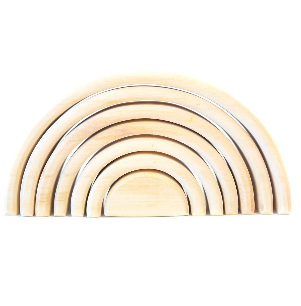 WOODEN TOY RAINBOW STACKER Montessori Waldorf Learning toys Nesting Puzzle for Creative Sculpture Building Tunnel Arches Block Stacker in Natural Wooden Stacking & Nesting Educational Wooden TOYS by Shop-Dreams