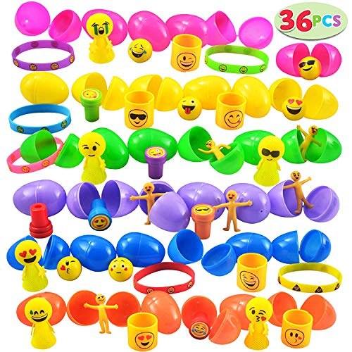 JOYIN 36 PCs Filled Easter Eggs with Emoji Toys, Easter Basket Stuffer Assorted Prefilled 36 Easter Eggs with 36 Different Kinds of Emoji-Themed Toys Includes Bouncing Balls, Stampers, Springs, Popper