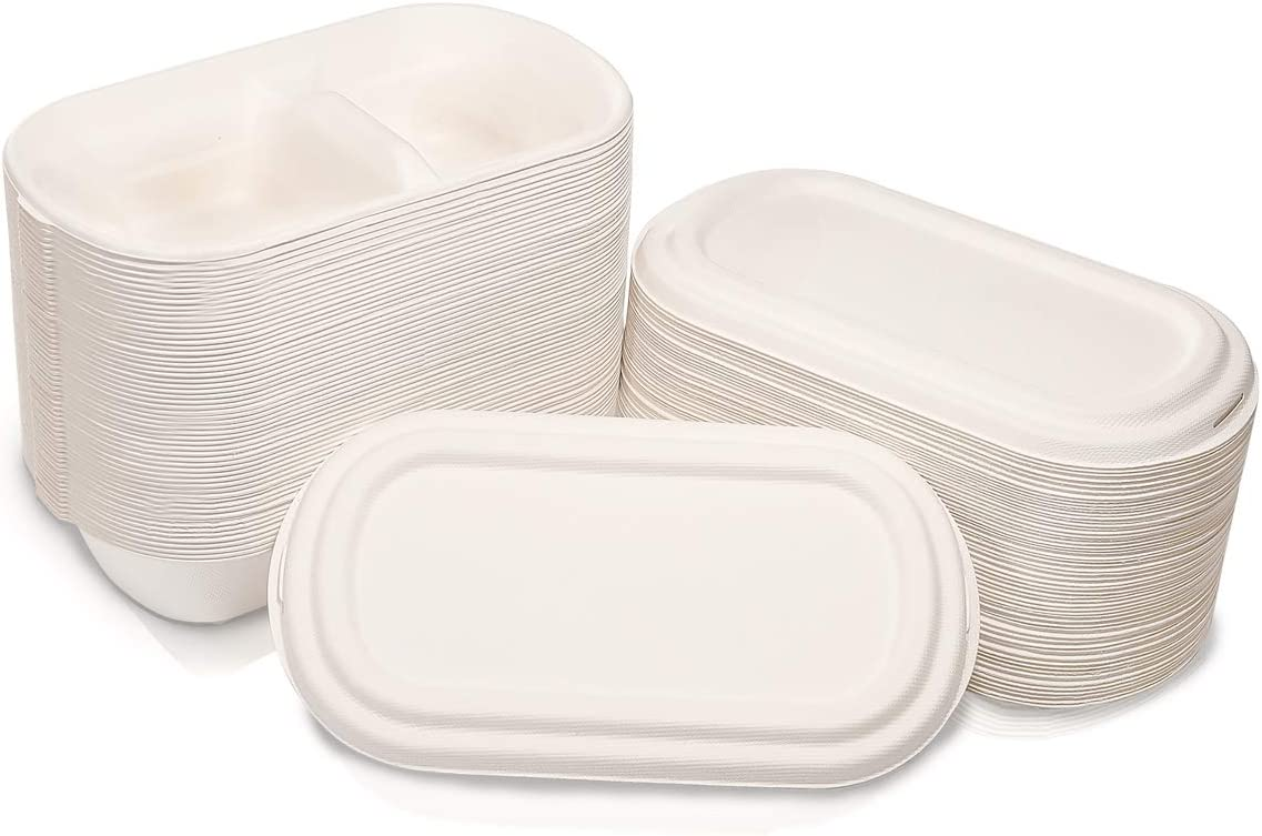 WELLIFE 60 Pack Disposable Compostable Pre Meal Containers, Two-Compartment Degradable Food Containers with Lids, Biodegradable Microwaveable Takeout Boxes 26OZ, Bento Boxes Made of Sugar Cane Fibers