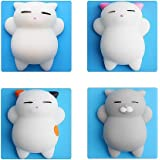 HAIYOO 4 Pcs Kawaii Slow Rising Soft Squishy Squeezen Cute Mini Cat Stress Reliever Decompression Toy for Kids Fidget toy Gift