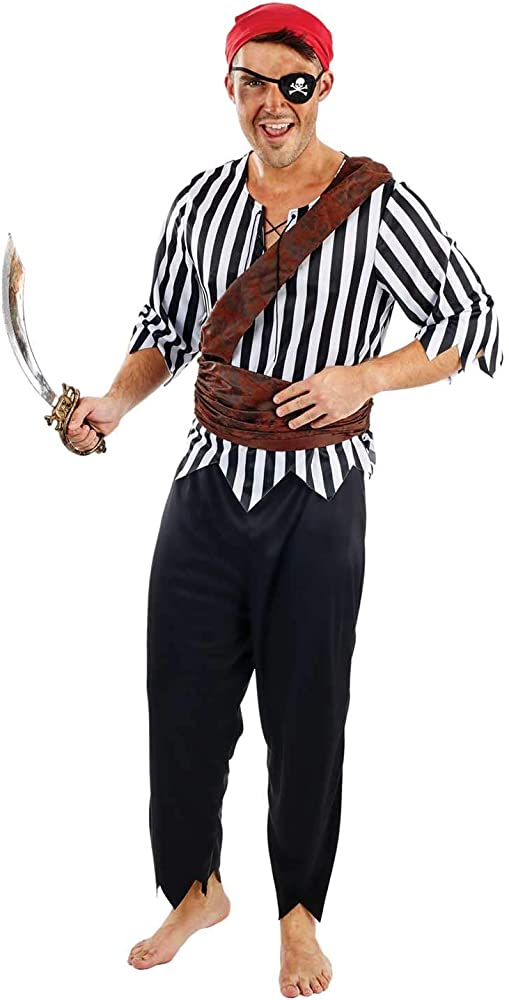 Mens Caribbean Pirate Captain Costume Adult Fancy Dress Outfit Halloween Party