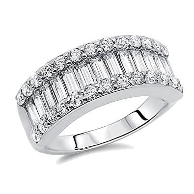 sterling silver rhodium plated wedding ring round baguette cz anniversary ring wedding band - Amazon Wedding Rings