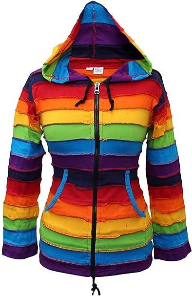 a righe colorate Shopoholic Fashion con cappuccio Felpa da bambini in stile hippie