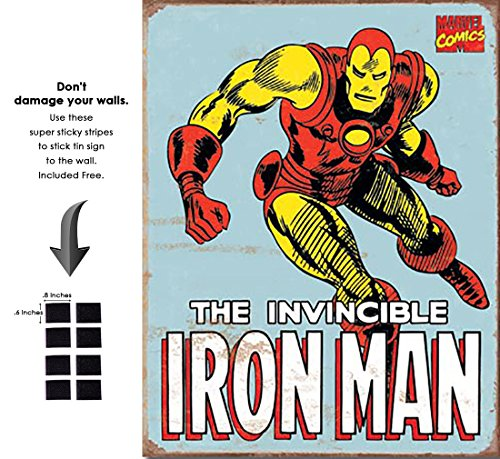 Iron Man Marvel Comics Retro Vintage Decor Tin Sign 12.5 in Wx16 in H - With Sticky Stripes . No Damage to Walls (Ironman Shop Uk)