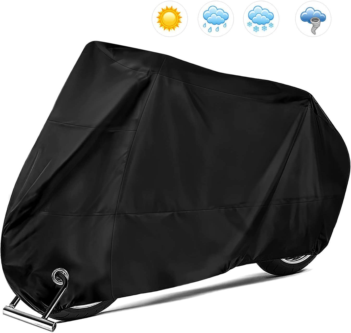 KOKOMALL Motorcycle Cover Waterproof Outdoor 210D All Weather Protection Anti-UV Dust-proof Heavy Duty with Lock Holes Motorbike Covers Black XXXL