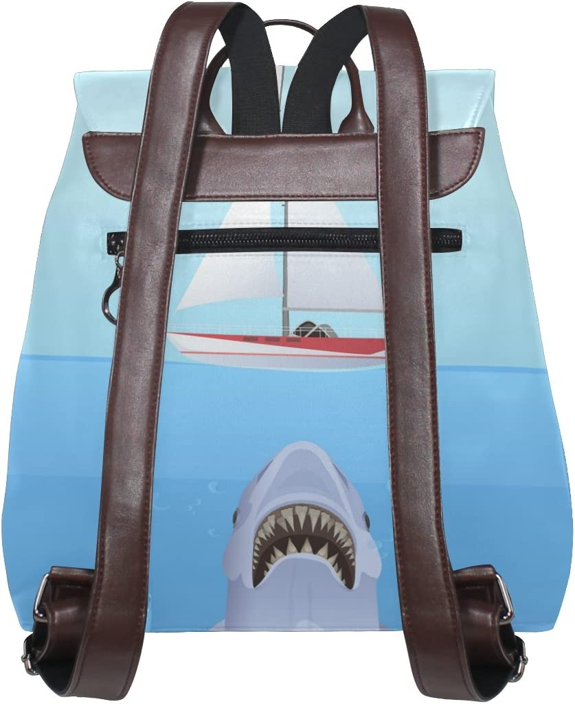 KUWT Hungry Shark Attack Yacht Ship PU Leather Backpack Photo Custom Shoulder Bag School College Book Bag Casual Daypacks Diaper Bag for Women and Girl