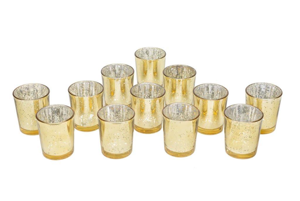 Gold Glittery Mercury Glass Votive Candle Holders (60)