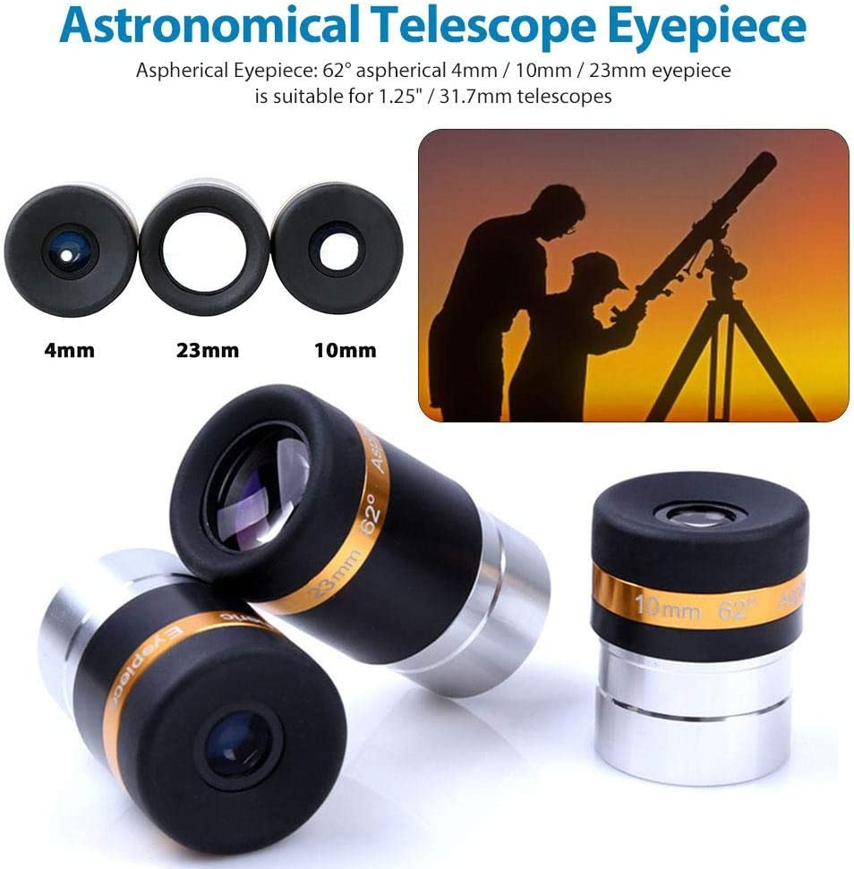 rowna Telescope Wide Degree Lens 31.7mm Astronomy Telescope Aspheric Eyepiece 62 Degree Lens 4//10//23mm Accessories for 1.25 Inch