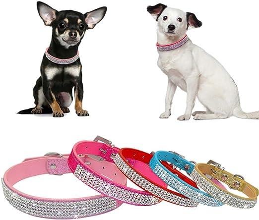 Rosa FGDFGDFGD Guinzaglio per Cani Collari per Cani con Strass per Animali Domestici in Pelle PU con Diamante in Cristallo per Cucciolo Collare e guinzagli per Accessori per Cani l