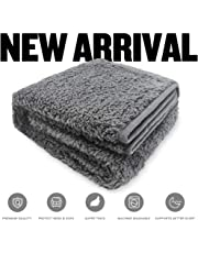 Allisandro® Washable Dog Blanket (100x80cm, Grey) for Cats Puppys Soft Warm Using Premium Fluffy Sherpa Pet Blanket Pet Throw