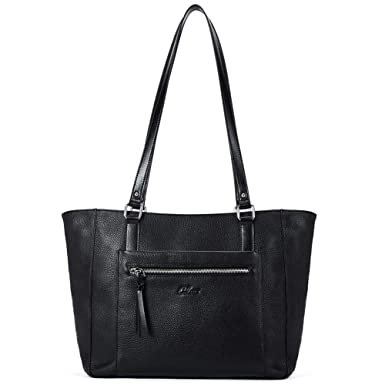 6df8a6e9a26b4 Amazon.com  Women Handbags Soft Genuine Leather Designer Purse Large Tote  Top Handle Ladies Shoulder Bag black  Clothing