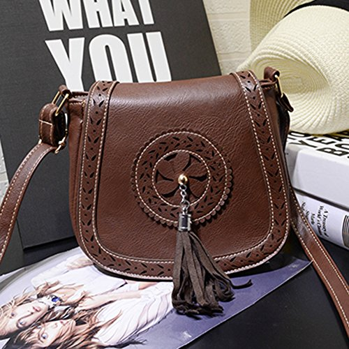 Lake Body Cross Bag Red Size One Small Women's Bag Shoulder Purse Brown Bag Messenger Vintage Tassel Blue qwtYXP