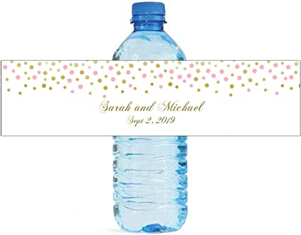 Etiquetas Para Botellas De Agua De Fondo Blanco Con Confeti Rosa Y Dorado Health Personal Care