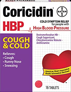 Coricidin HBP Decongestant-Free Cough and Cold Medicine for Hypertensives, Cold Symptom Relief for People with High Blood Pressure, 325 mg Acetaminophen Tablets (16 Count)