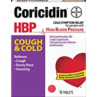 Coricidin HBP Decongestant-Free Cough and Cold Medicine for Hypertensives, Cold...