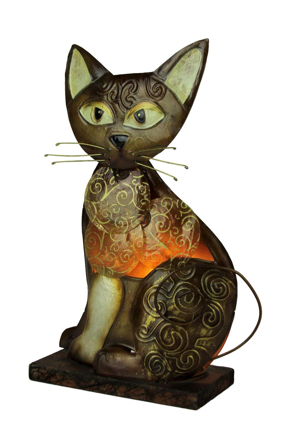 Natural Shell and Metal Art Brown Swirly Tabby Cat Accent Lamp