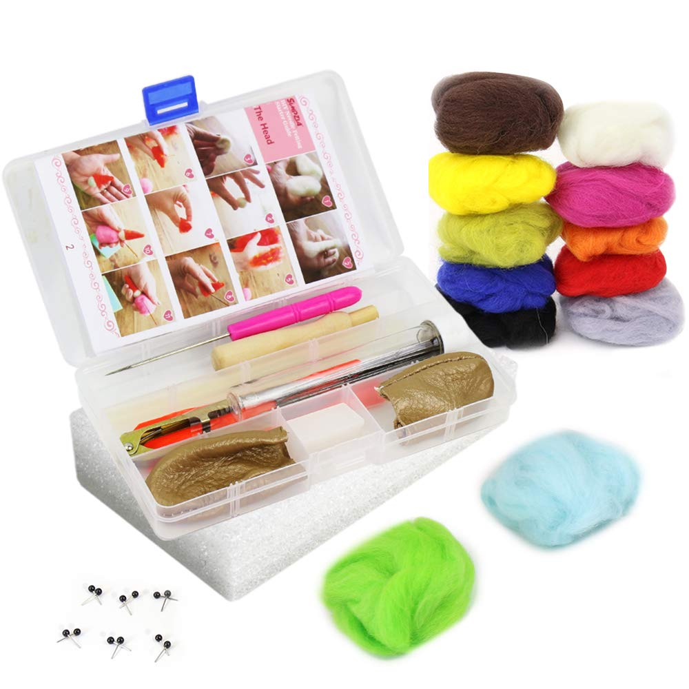 SIMPZIA Needle Felting Kit Wool Felting Starter Kit - 7 Felting Needles, Wooden Needle Holder, Foam Mat,Scissors, Awl, Glue Stick, Leather Finger Cots with 12 Colors Roving Wool & 6 Pair Glass Eyes SIMMPER