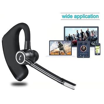 Auriculares bluetooth, auriculares inalámbricos estéreo HD para negocios, ligeros V4.1 Bluetooth Auriculares con reducción de ruido, sin manos con micrófono ...