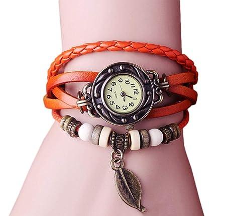 Dosige Pulsera del Reloj Retro Estilo Romano Hojas Colgante Cuarzo Reloj de Pulsera Mujeres Accesorios de