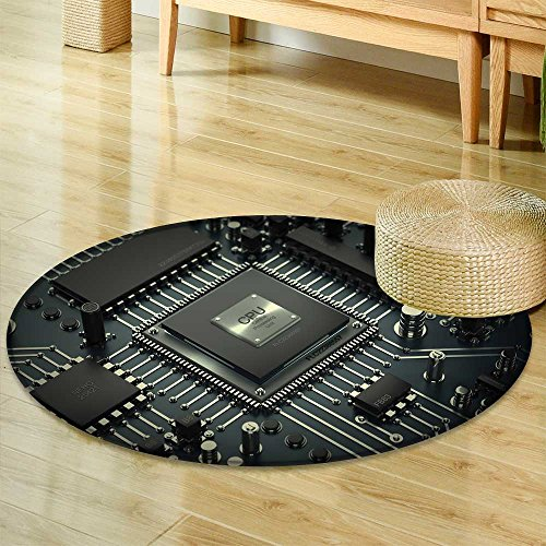 Round Area Rug Central Computer Processors CPU Concept Technology Background high Resolution Indoor/Outdoor Round Area Rug -Round 63""