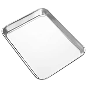 HEAHYSI Mini Stainless Steel Baking Sheets,Small Cookie Sheets, Toaster Oven Tray Pan Rectangle Size 9Lx7Wx1H inch Non Toxic & Healthy,Superior Mirror Finish & Easy Clean, Dishwasher Safe